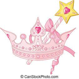 magisches, krone, zauberstab, prinzessin