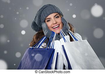 magisches, und, erfolgreich, shoppen, in, winter, jahreszeit