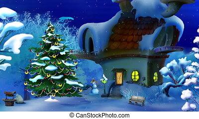 magisches, weihnachten, nacht
