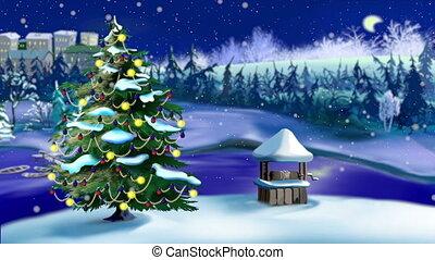 magisches, winter, verschneiter , baum, nacht, weihnachten