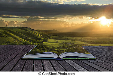magisk, bok, med, innehåll, spilla, in i, landskap, bakgrund