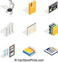 Magistrate icons set, isometric style - Magistrate icons...
