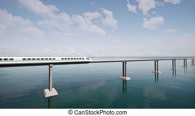 Maglev moves against the background of the ocean 4k