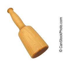 maglio, legno, vendemmia, sopra, isolato, fondo, bianco