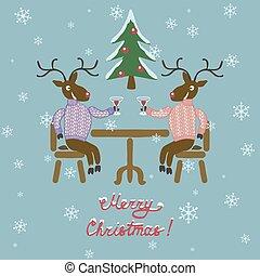 maglione, cervo, natale