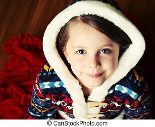 maglione, incappucciato, piccola ragazza