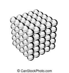 magnético, render, pelotas
