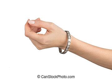 magnétique, femmes, bracelet, main gauche