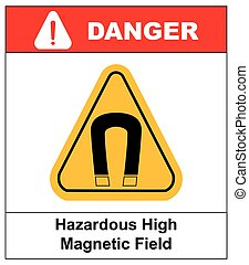 magnétique, signe, champ, vecteur, fort, avertissement