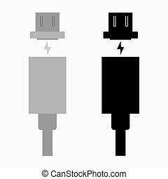 magnétique, usb câble, type, charger