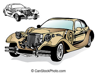 magnífico, antiguo, coche