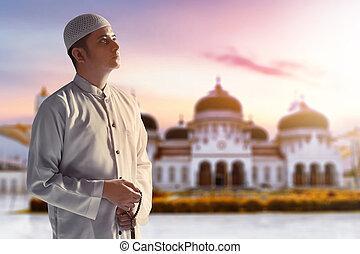 magnífico, banda, joven, mezquita, aceh, indonesia, árabe, ...
