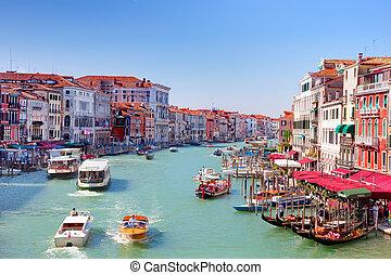 magnífico, barcos, góndolas, tráfico, italia, canal, venecia...