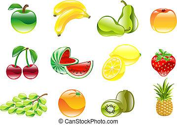 magnífico, brillante, fruta, icono, conjunto