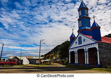 magnífico, coloreado, y, de madera, iglesias, chiloé, isla, chile