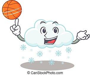magnífico, diseño, nube, mascota, baloncesto, estilo, nevoso