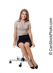 magnífico, mujer de negocios, se sentar sobre una silla