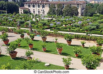 magnífico, renacimiento, jardines