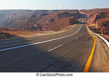 magnífico, rodovia, em, antiga, montanhas, de, eilat