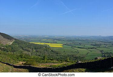 magnífico, tierras de labrantío, campos, vistas, inglaterra...