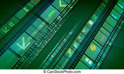 magnószalag, megvonalaz, négy, zöld, retro, film