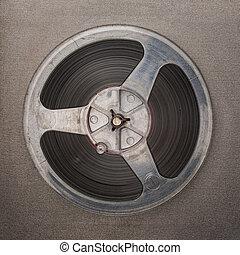magneet, recorder., cassette, retro, reeel, haspel, analoog