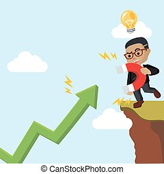 magneet, zakenman, grafisch, halen omhoog