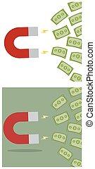 magnes, przyciągający, gotówka, pieniądze