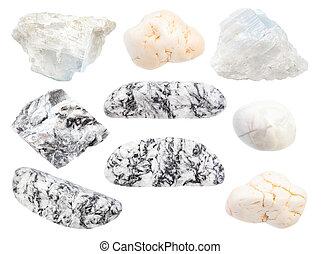 magnesite, set, isolato, pietre, bianco, vario