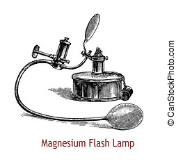 Magnesium flash lamp, XIX century