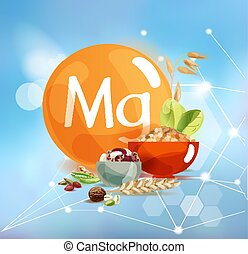 Magnesium on a modern background with polygonal elements. - ...