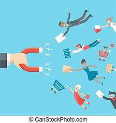 Vector business conceptual background in flat style. The hand of businessman holding magnet and attracts happy customers or clients of different age and race to the business.