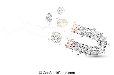 Magnet attracting coins from lines, triangles and particle style design. Illustration vector