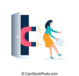 Magnet attracts potential product woman buyer to shop. Concept of Influencer marketing, attraction customers. Isolated on purple.  Flat Art Vector Illustration