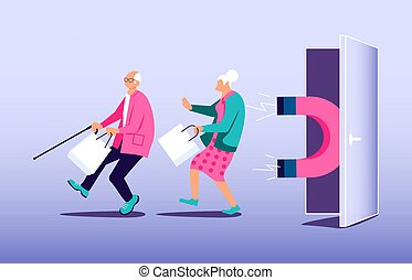 Magnet attracts potential product buyers. Concept of attraction customers, Influencer marketing. Flat Art Vector Illustration