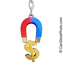 Magnet chain links gold dollar sign on a white background 3D illustration, 3D rendering