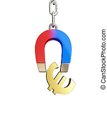 Magnet chain links gold euro sign on a white background 3D illustration, 3D rendering