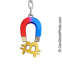 Magnet chain links golden sign bitcoin on a white background 3D illustration, 3D rendering
