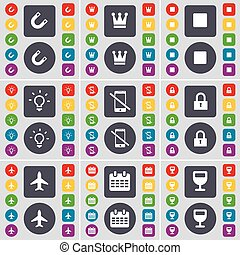 Magnet, Crown, Media stop, Light bulb, Smartphone, Lock, Airplane, Calendar, Wineglass icon symbol. A large set of flat, colored buttons for your design. Vector