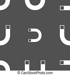 magnet, firma, icon., podkova, ono, symbol., odčinit, sig., seamless, model, dále, jeden, šedivý, grafické pozadí., vektor