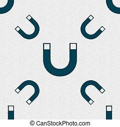 magnet, firma, icon., podkova, ono, symbol., odčinit, sig., seamless, model, s, geometrický, texture., vektor