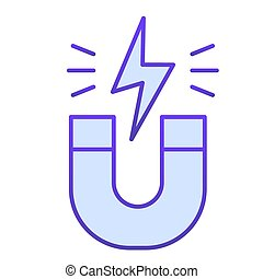 Magnet flat icon. Horseshoe with energy sign, magnetism attraction. Physics subject vector design concept, gradient style pictogram on white background.