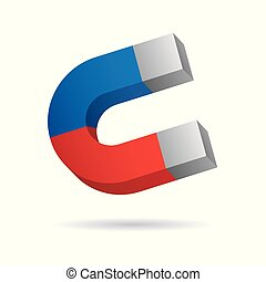 Magnet icon 3d. Vector illustration - Vector