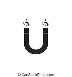 Magnet icon isolated. Horseshoe magnet, magnetism,...