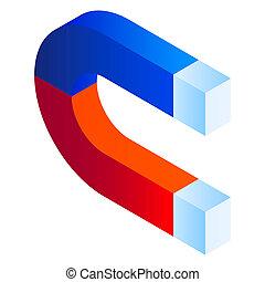 Magnet icon, isometric style