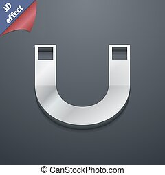 magnet icon symbol. 3D style. Trendy, modern design with space for your text Vector