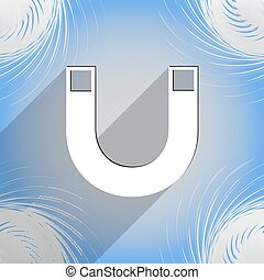 magnet icon symbol Flat modern web design with long shadow and space for your text. Vector