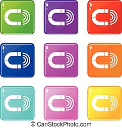 Magnet icons 9 set
