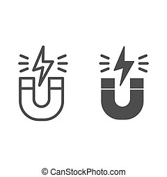 Magnet line and solid icon. Horseshoe with energy sign, magnetism attraction. Physics subject vector design concept, outline style pictogram on white background.