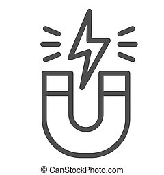 Magnet line icon. Horseshoe with energy sign, magnetism attraction. Physics subject vector design concept, outline style pictogram on white background.